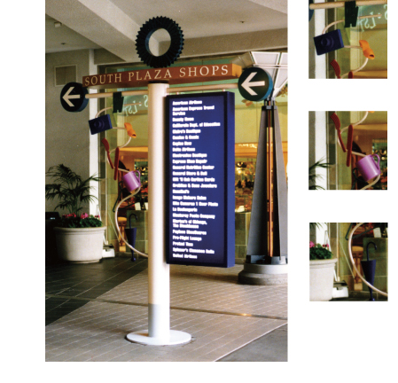 Downtown Plaza, illuminated directory with themed elements